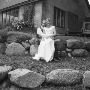 Bride on groom's lap